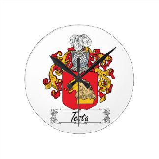 Escudo de la familia del Testa Reloj Redondo Mediano