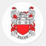 Escudo de la familia del tocino pegatina redonda