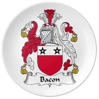 Escudo de la familia del tocino platos de cerámica