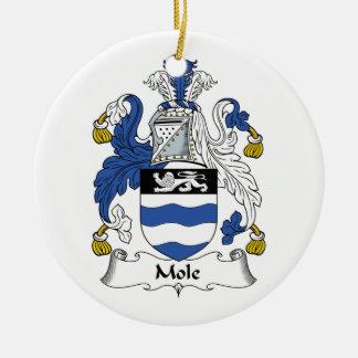 Escudo de la familia del topo adorno de navidad