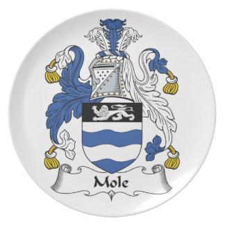 Escudo de la familia del topo platos para fiestas