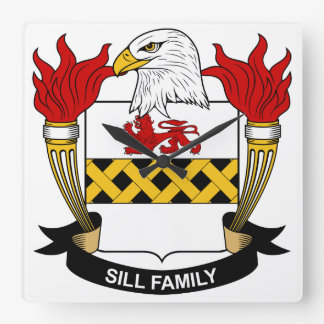 Escudo de la familia del travesaño reloj cuadrado