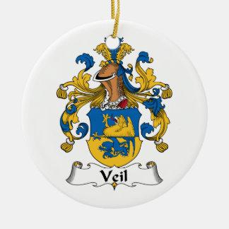 Escudo de la familia del velo adorno redondo de cerámica