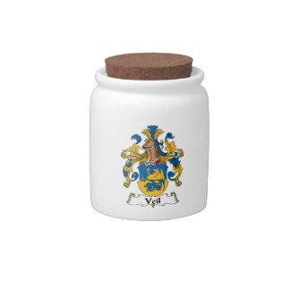 Escudo de la familia del velo tarro de cerámica para dulces