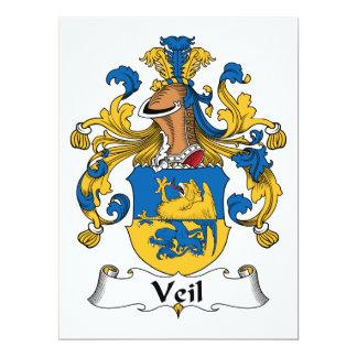 """Escudo de la familia del velo invitación 6.5"""" x 8.75"""""""