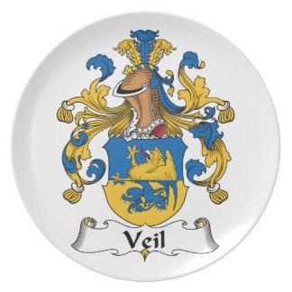 Escudo de la familia del velo plato de cena