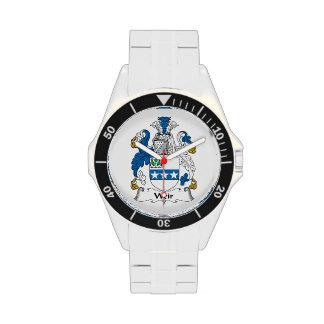 Escudo de la familia del vertedero relojes de pulsera