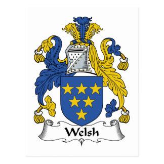 Escudo de la familia Galés Tarjeta Postal