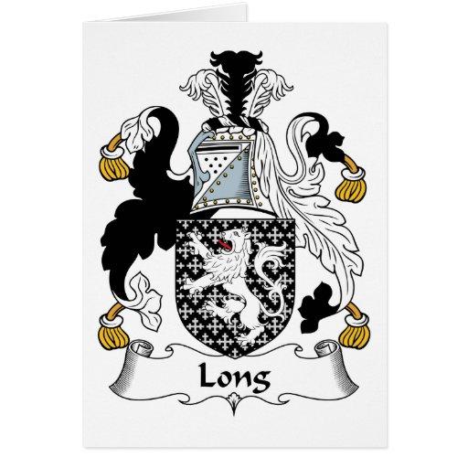 Escudo de la familia larga tarjeta de felicitación