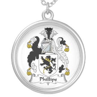 Escudo de la familia Phillips Colgante Redondo