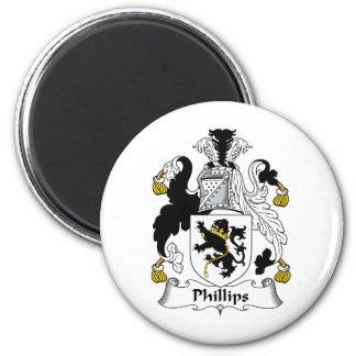 Escudo de la familia Phillips Imán Redondo 5 Cm