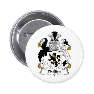 Escudo de la familia Phillips Pin Redondo De 2 Pulgadas
