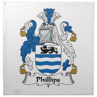 Escudo de la familia Phillips Servilleta