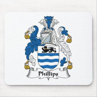 Escudo de la familia Phillips Tapete De Ratones