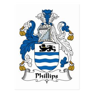 Escudo de la familia Phillips Tarjeta Postal