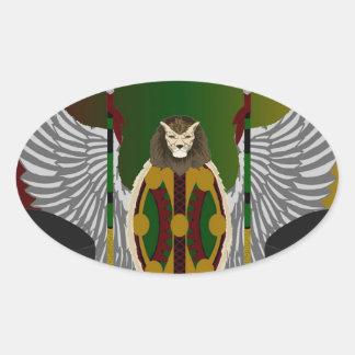 Escudo de la herencia de Jikoba Calcomanía De Óval Personalizadas