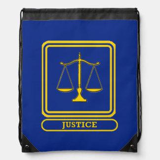 Escudo de la justicia del juez mochilas