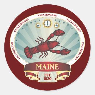 Escudo de la langosta de Maine Pegatina Redonda