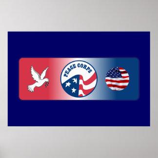 Escudo de la paloma del cuerpo de paz póster