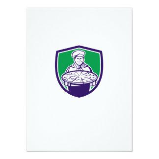"""Escudo de la pizza de la porción del cocinero del invitación 5.5"""" x 7.5"""""""