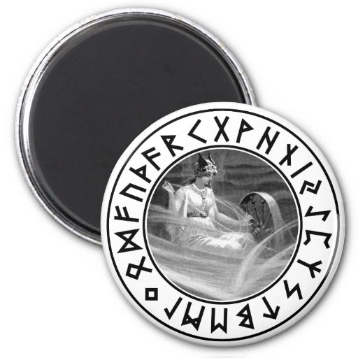 Escudo de la runa de Frigg Imán Redondo 5 Cm