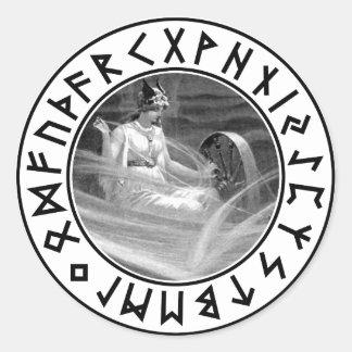 Escudo de la runa de Frigg Pegatina Redonda