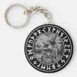escudo de la runa del Thor del botón en el negro Llavero