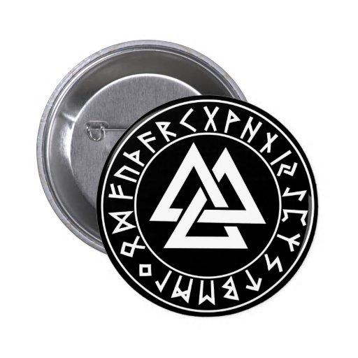 escudo de la runa del Tri Triángulo del botón en e Pin Redondo De 2 Pulgadas
