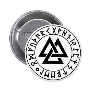 escudo de la runa del Tri Triángulo del botón Pin Redondo De 2 Pulgadas