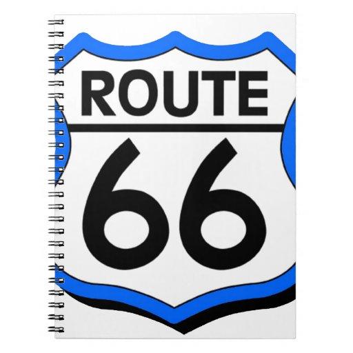 Escudo de la ruta 66 con el azul y la sombra cuaderno
