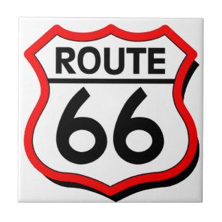 Escudo de la ruta 66 con rojo y sombra teja  ceramica