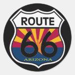 Escudo de la ruta 66 de la bandera de Arizona Etiqueta Redonda