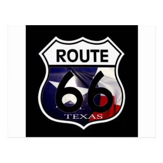 Escudo de la ruta 66 de la bandera de Tejas Postales