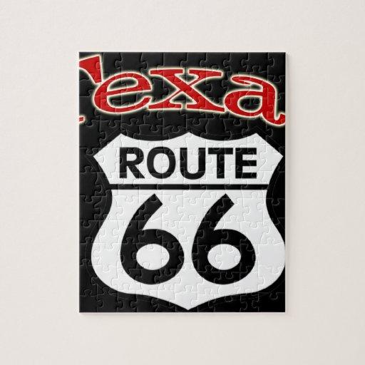 Escudo de la ruta 66 de Tejas Puzzle