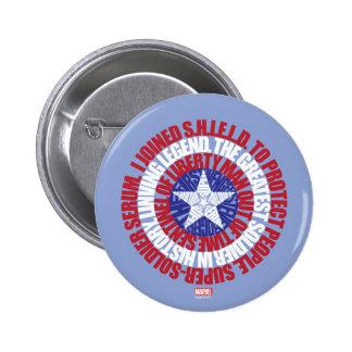 Escudo de la tipografía de capitán América alias Pin Redondo De 2 Pulgadas