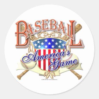 Escudo de los E.E.U.U. del béisbol del vintage Pegatina Redonda