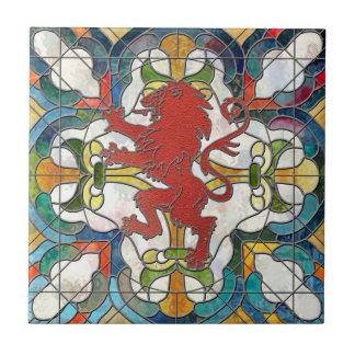 Escudo de los leones azulejo cuadrado pequeño