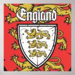 Escudo de los leones de Inglaterra tres Poster