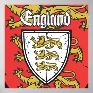 Escudo de los leones de Inglaterra tres Póster