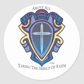 Escudo de los pegatinas de la fe etiquetas redondas