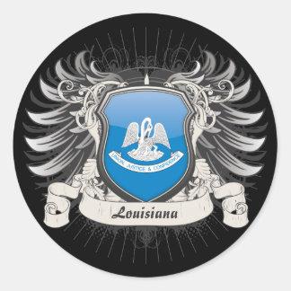 Escudo de Luisiana Etiqueta Redonda
