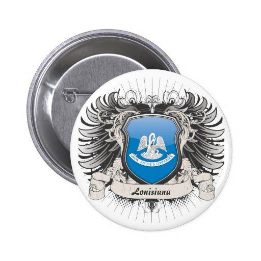 Escudo de Luisiana Pin Redondo De 2 Pulgadas