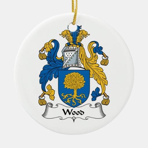 Escudo de madera de la familia adorno redondo de cerámica