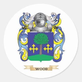 Escudo de madera de la familia (escudo de armas) pegatina redonda