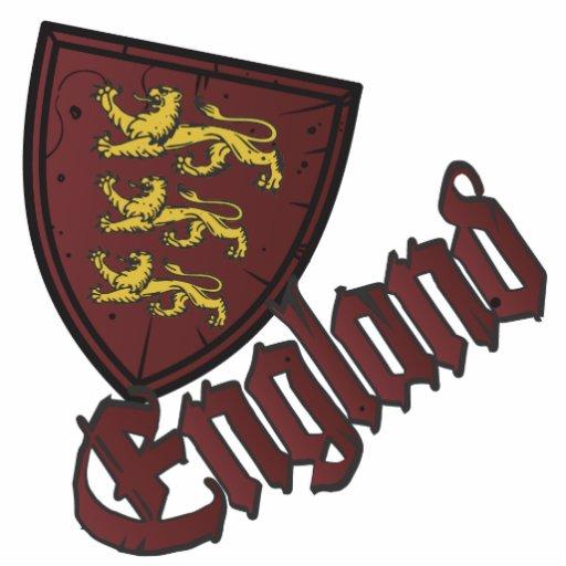 Escudo de madera de los leones de Inglaterra tres Fotoescultura Vertical