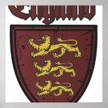Escudo de madera de los leones de Inglaterra tres Poster
