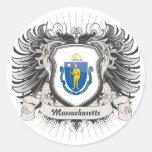 Escudo de Massachusetts Etiqueta Redonda
