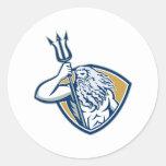 Escudo de Neptuno Poseidon Trident retro Etiquetas Redondas