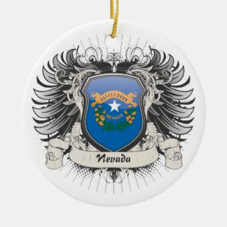 Escudo de Nevada Adorno Navideño Redondo De Cerámica