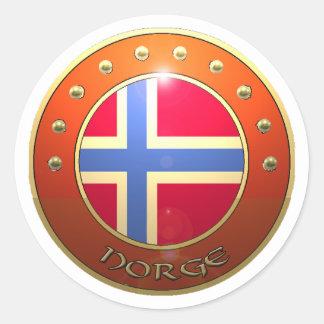 Escudo de Norge Pegatina Redonda